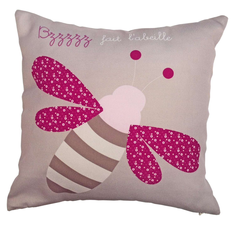 un coussin pour b b fille avec une petite abeille rose et taupe. Black Bedroom Furniture Sets. Home Design Ideas