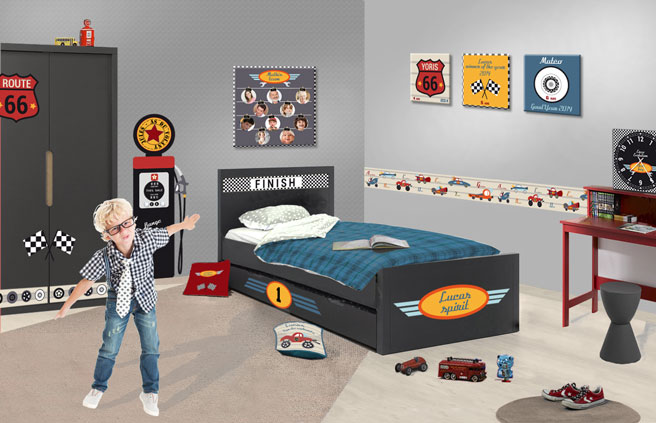 d co chambre th me voiture pour gar on univers de la route 66. Black Bedroom Furniture Sets. Home Design Ideas