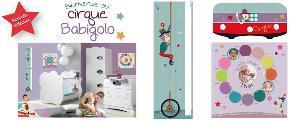 Nouvelle collection d�co b�b� mixte th�me cirque