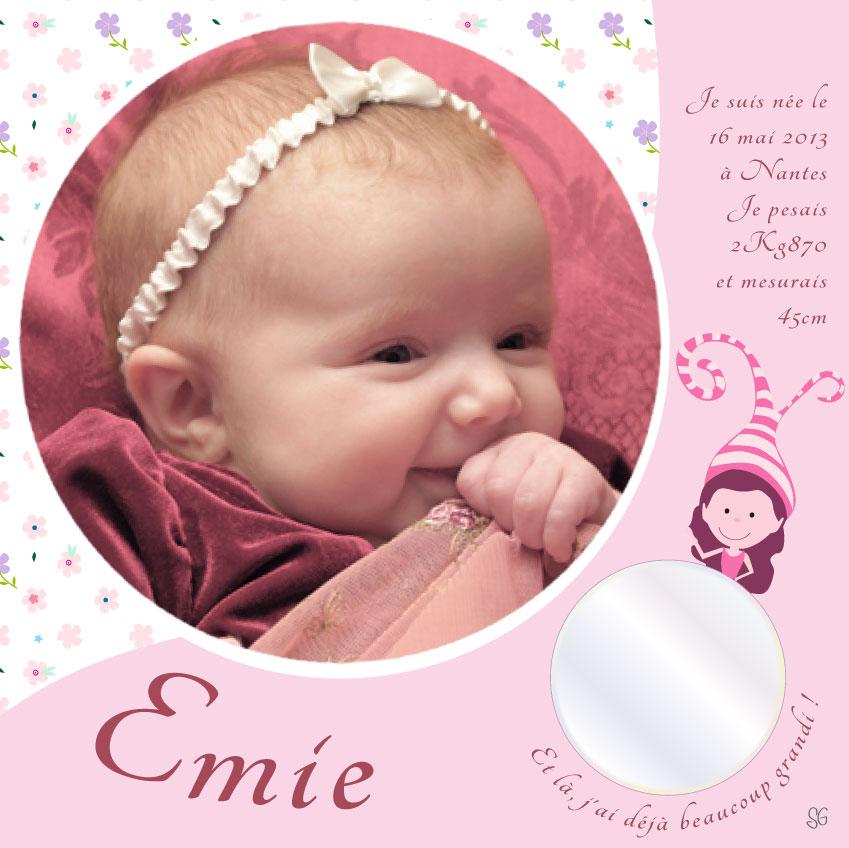 Toile naissance avec photo bébé et miroir