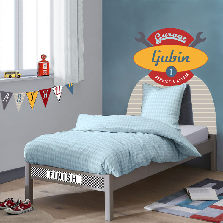 sticker t te de lit garage pour chambre gar on voiture. Black Bedroom Furniture Sets. Home Design Ideas