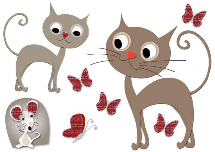 Sticker mural chats et souris - Parcours mural pour chat ...