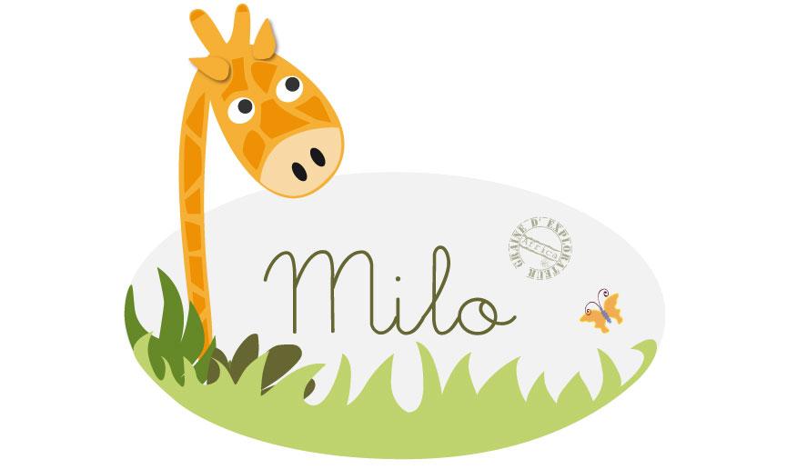 Sticker personnalis pr nom girafe - Stickers prenom porte chambre ...