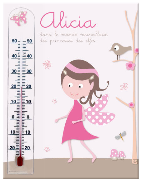 Cadre thermom tre princesse des elfes rose et taupe 100 made in france - Thermometre hygrometre chambre bebe ...