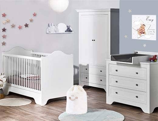 Chambre bébé lit commode armoire