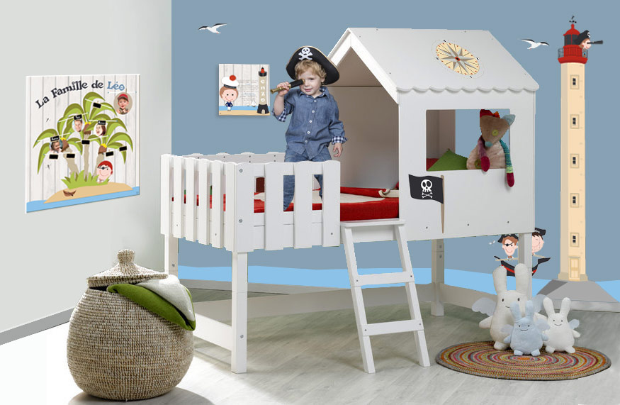 d coration mer de pirates pour chambre d enfant. Black Bedroom Furniture Sets. Home Design Ideas