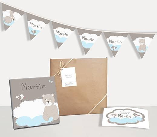 Box naissance déco chambre bébé garçon ourson et nuage bleu