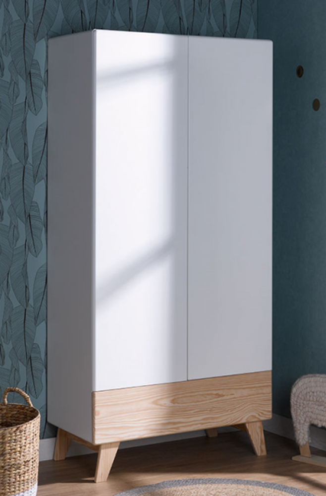 Armoire penderie et étagère de la gamme HARMONIE blanc et pin