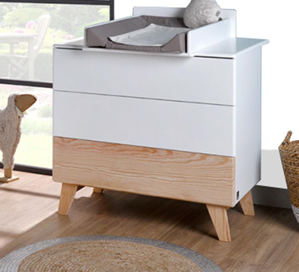 Rangement chambre bébé HARMONIE blanc et pin avec 3 tiroirs