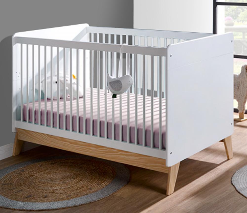 Lit bébé à barreaux de la gamme HARMONIE blanc et pin