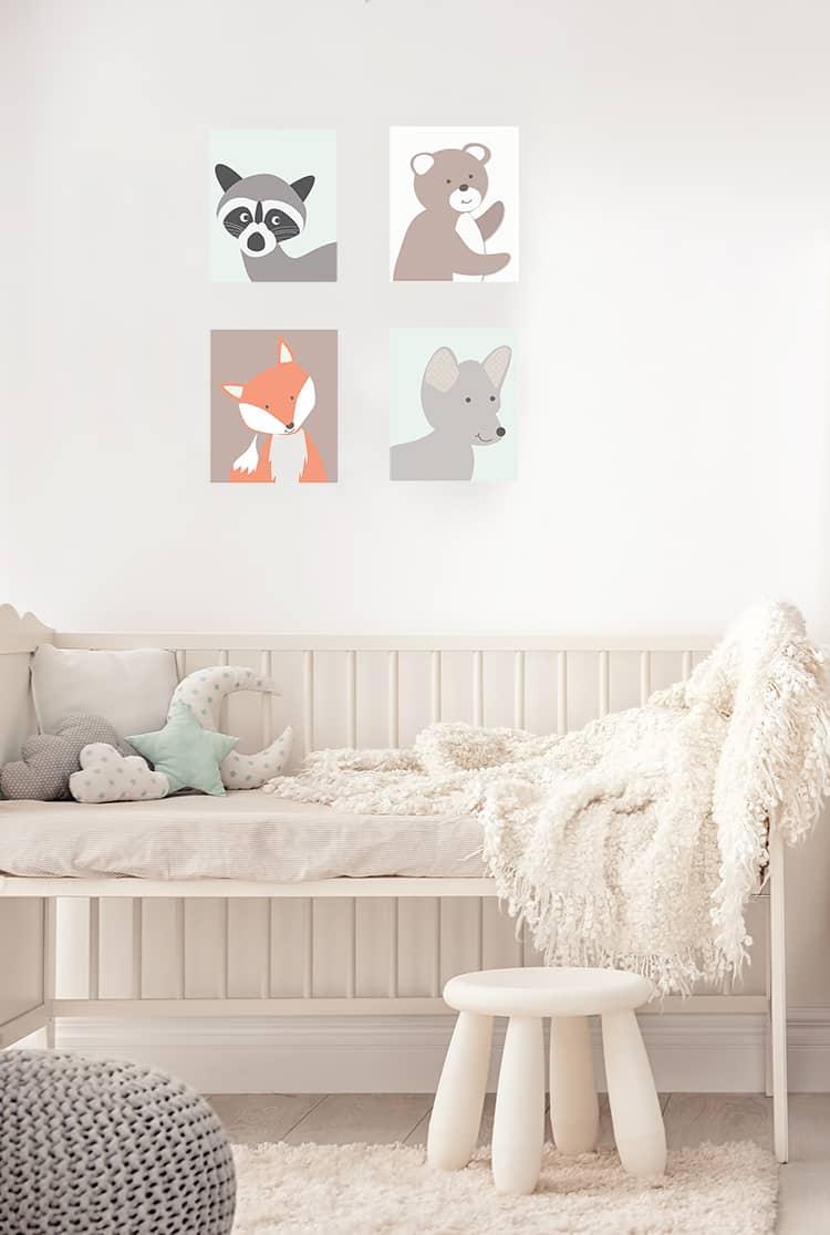 Chambre bébé mixte sur le thème des animaux de la forêt
