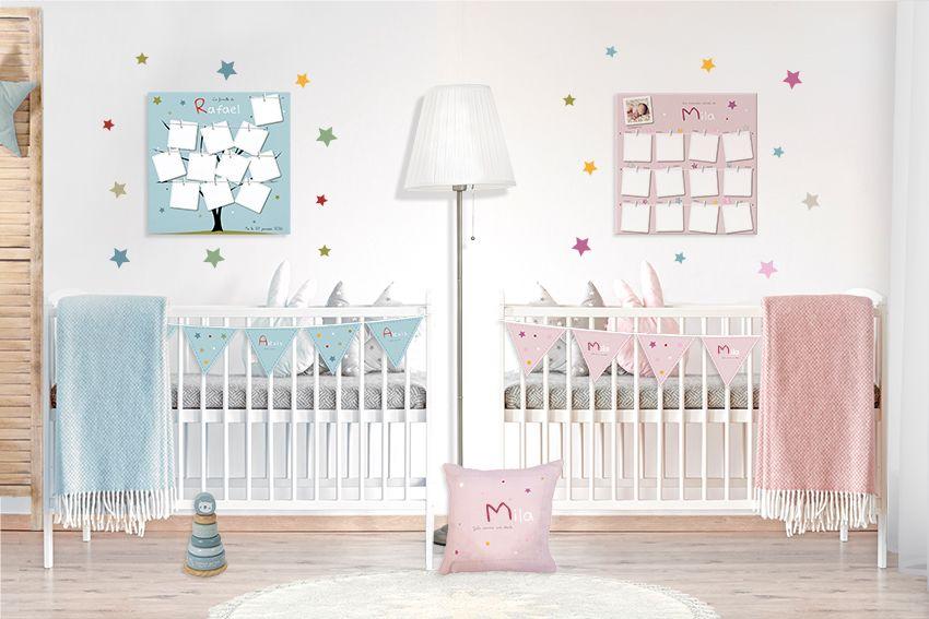 Chambre bébé mixte design bleu ou rose avec étoiles multicolores