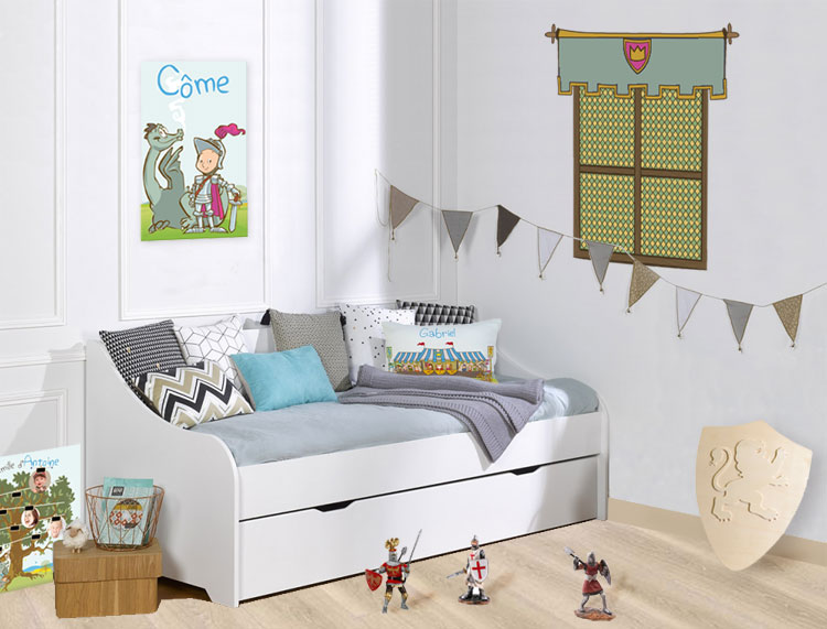 Decoration chambre theme chevalier et dragons