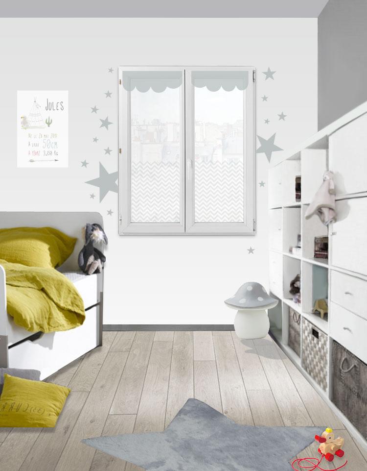 Habillage fenêtre design avec étoiles grises