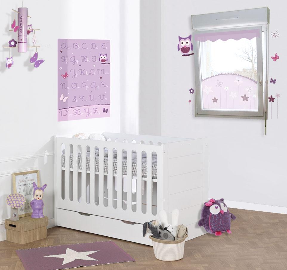Une chambre bébé fille mauve et rose avec chouette, fleurs et papillons