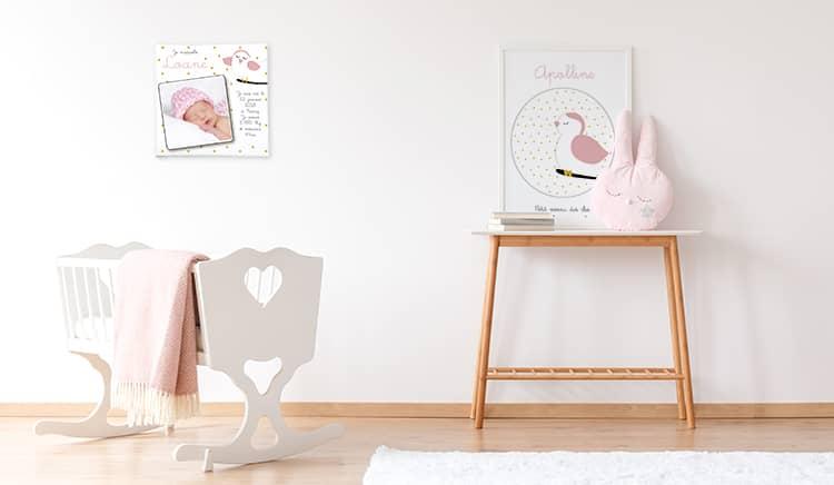 Chambre bébé fille rose et or