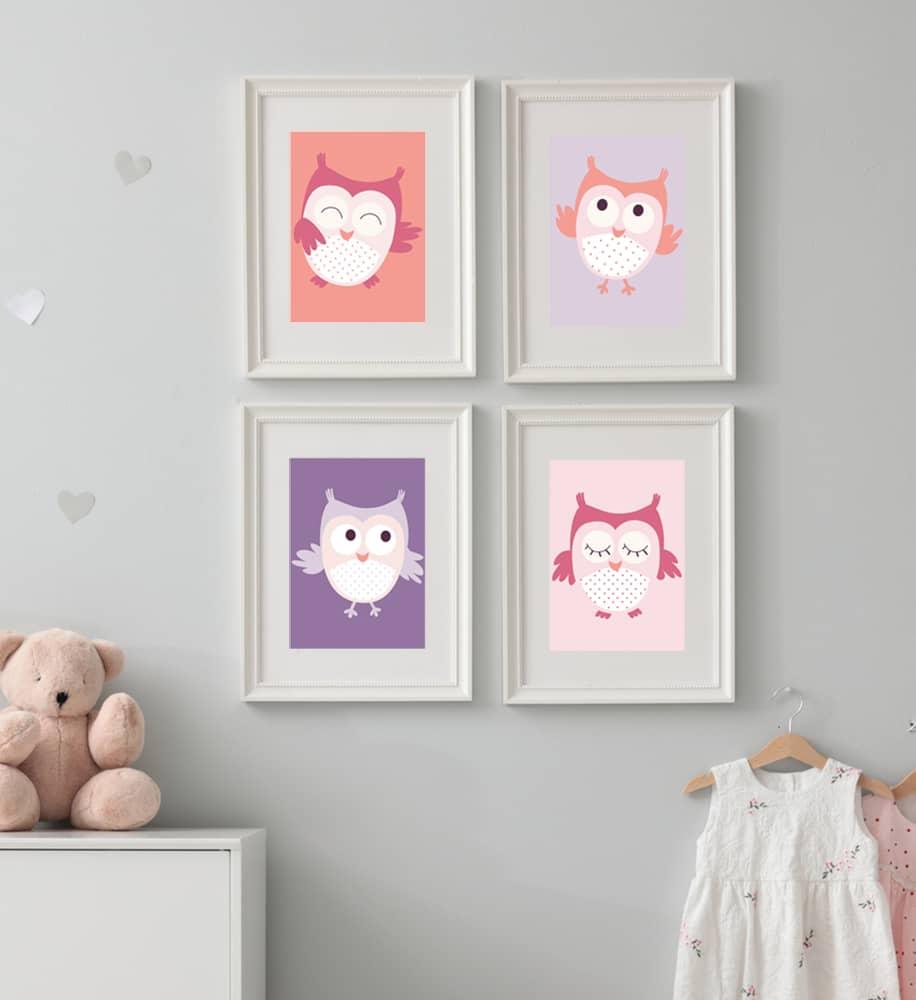 Déco chambre bébé fille Chouette & Papillons