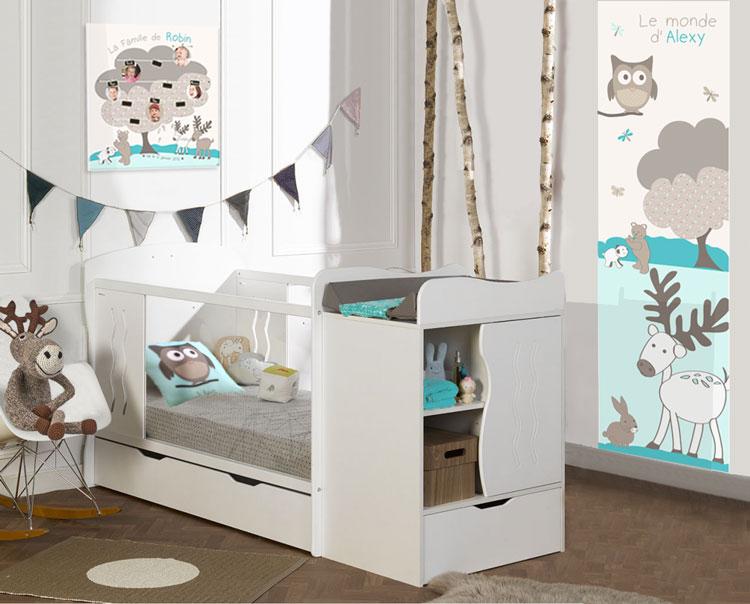 Chambre bébé complète et déco taupe et turquoise animaux de la forêt