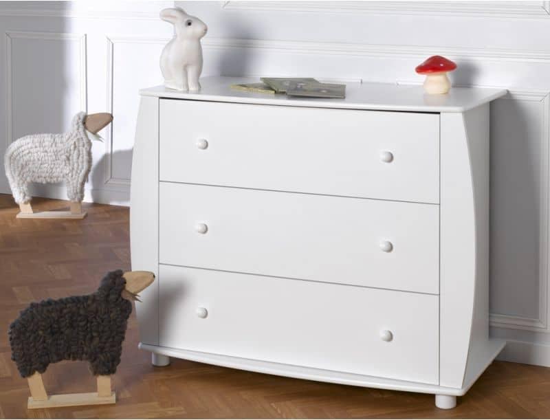 Commode 3 tiroirs EPURE blanc pour chambre bébé