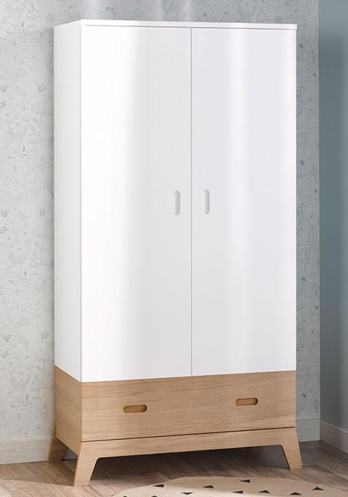 Armoire penderie pour chambre de bébé blanc et bois apparent