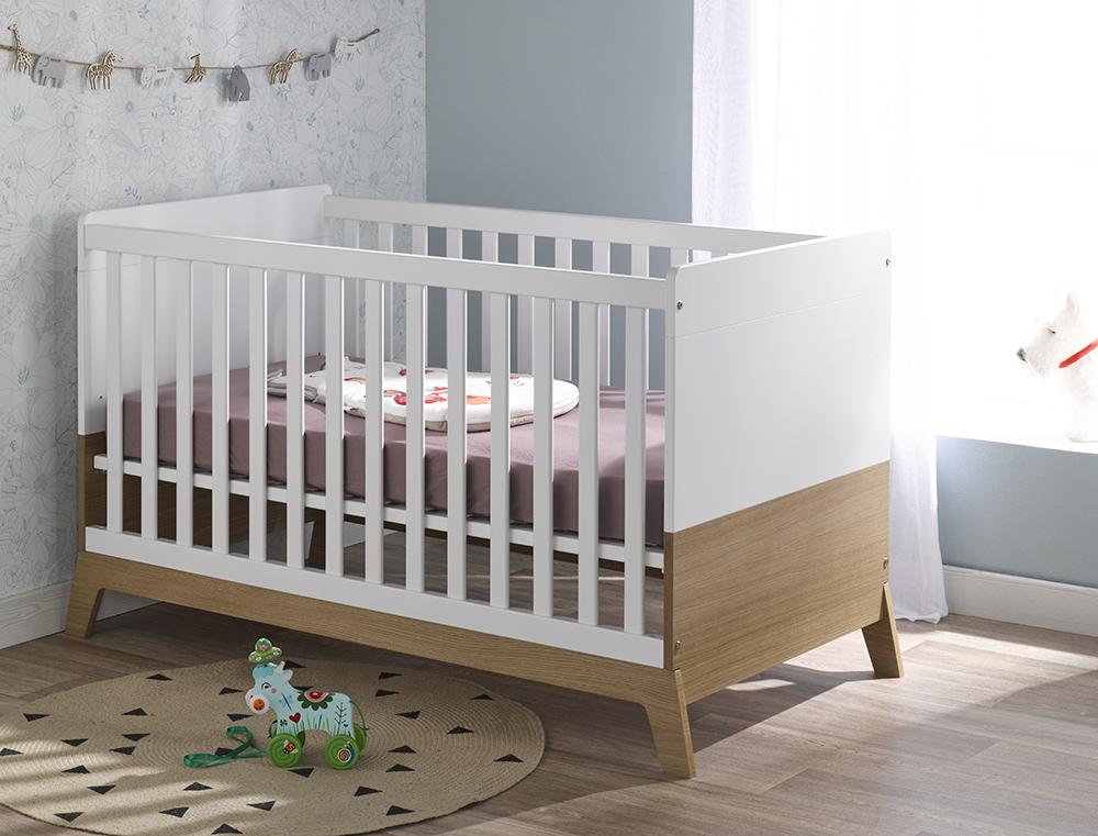 Lit bébé a barreau gamme NORVEGE blanc et bois