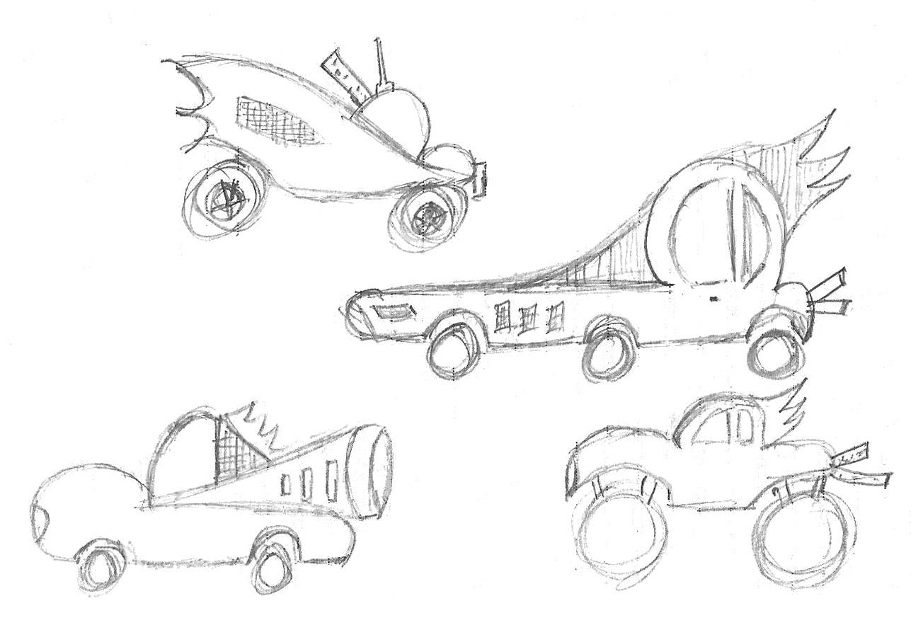 Premiers crayonnés decoration voitures enfants en route 66