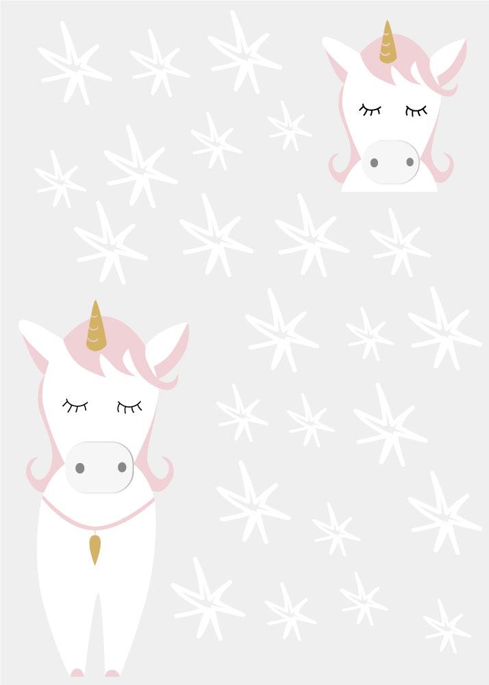 Sticker licorne et étoiles design