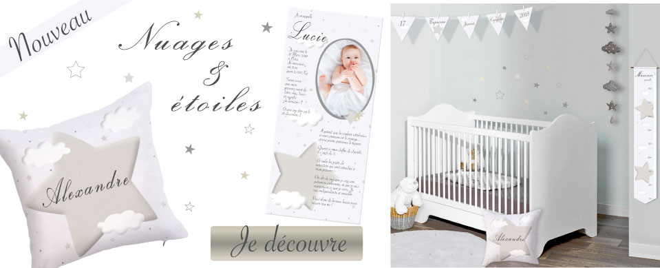 Nouvelle collection design nuages et étoiles pour chambre bébé