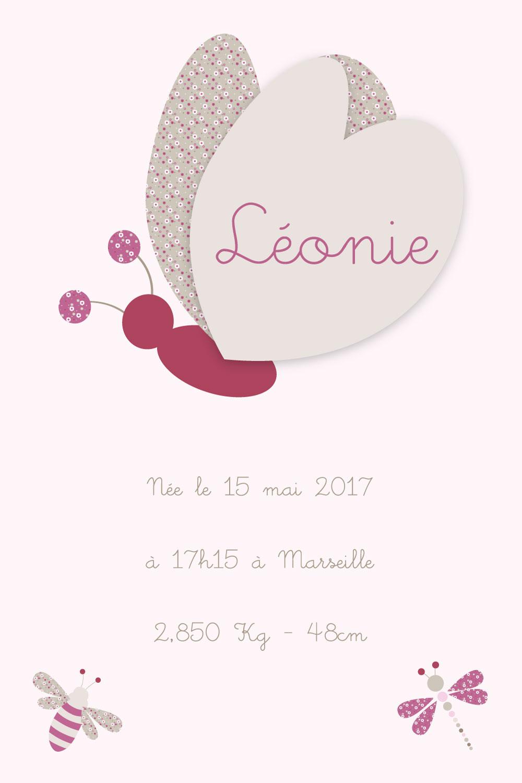 Informations de naissance papillon rose pour bébé