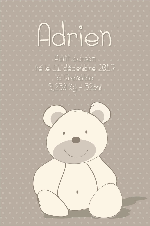 Affiche avec infos de naissance oursons