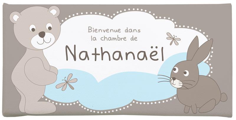 Plaque de porte personnalisée bébé ourson, lapin et nuage