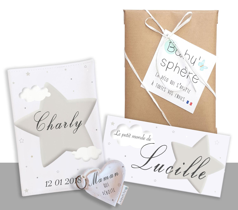 Une box naissance personnalisée avec nuages et étoiles