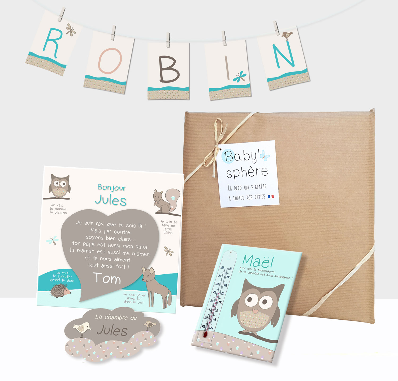 Box naissance déco chambre bébé garçon animaux de la forêt