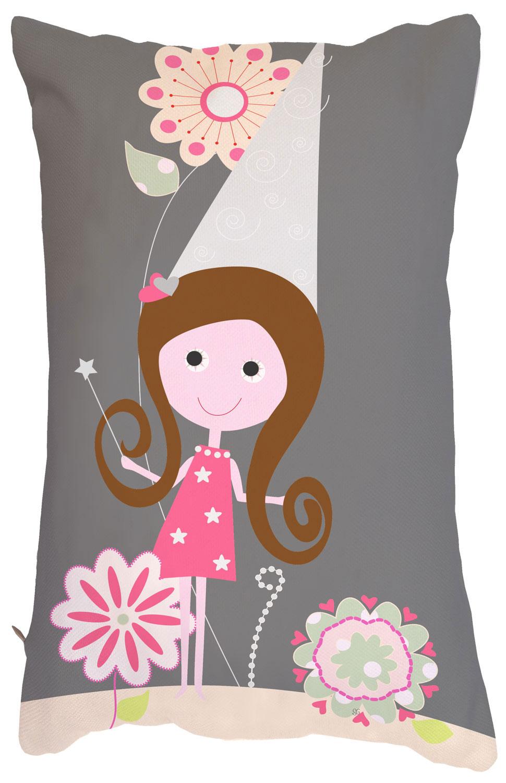 Coussin rectangulaire original et petite fée gris et rose soutenus