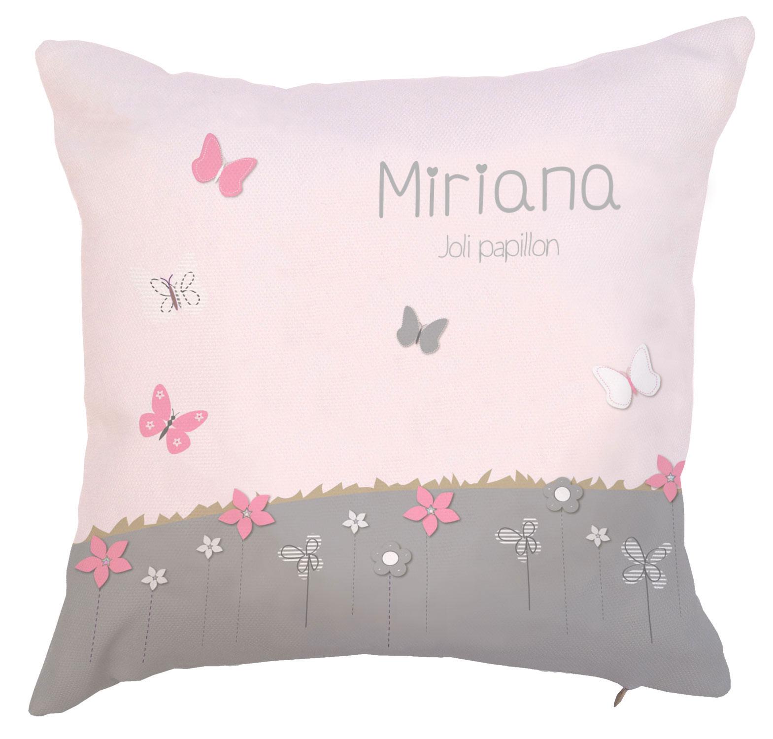 Coussin fille rose pâle et gris clair avec fleurs et papillons
