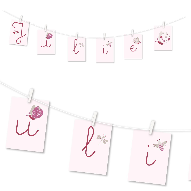 Guirlande personnalisée au prénom de bébé, papillon rose, rouge et beige