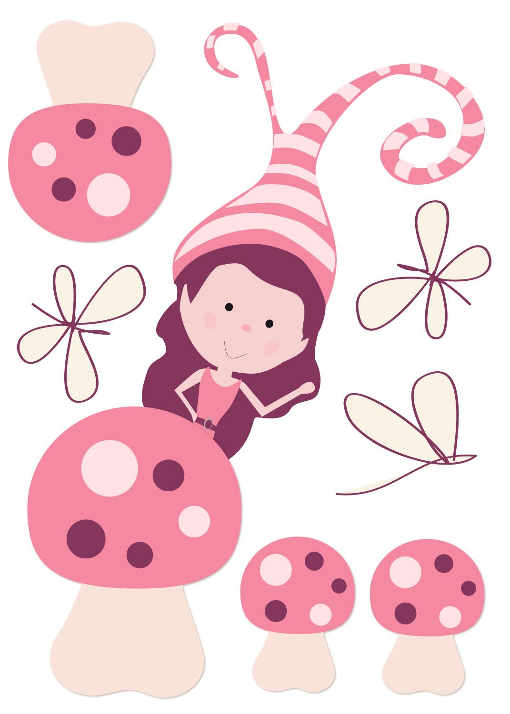 Sticker d'habillage de meuble petit lutin rose