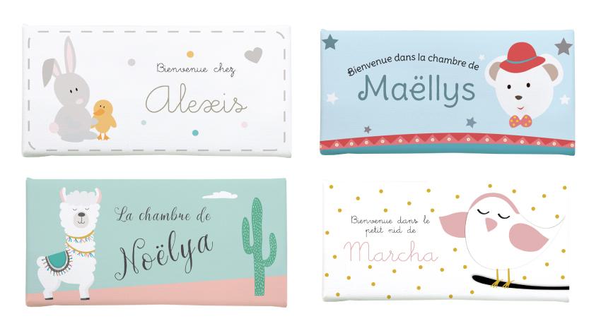 Nouvelles plaques prénom porte pour chambres de bébé
