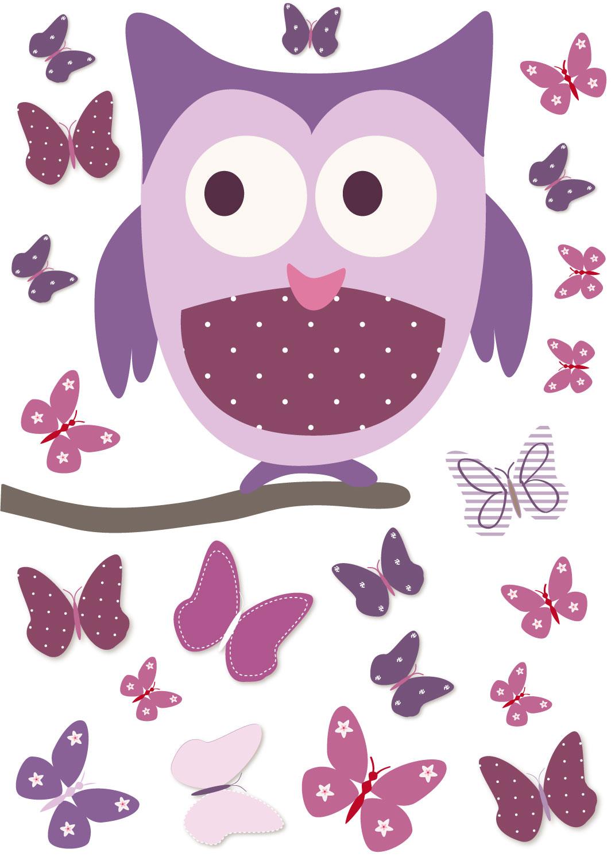 fabulous chouette mauve et papillons en sticker with stickers fille papillons. Black Bedroom Furniture Sets. Home Design Ideas