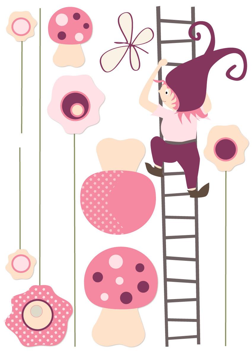 Chambre Bebe Taupe Et Rose : Sticker bébé fille avec fleurs lutin et champignons