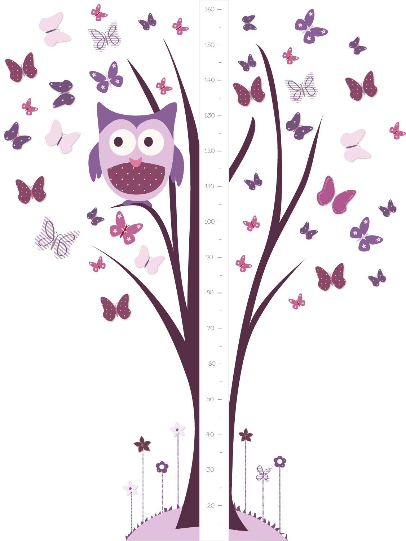 Un sticker g ant toise avec chouette perch e sur son arbre et papillons rose et mauves - Stickers geant chambre fille ...