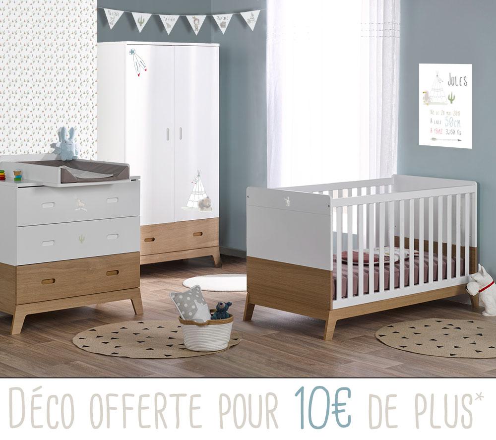 Chambre b b compl te avec lit volutif style nordique et - Chambre bebe nordique ...