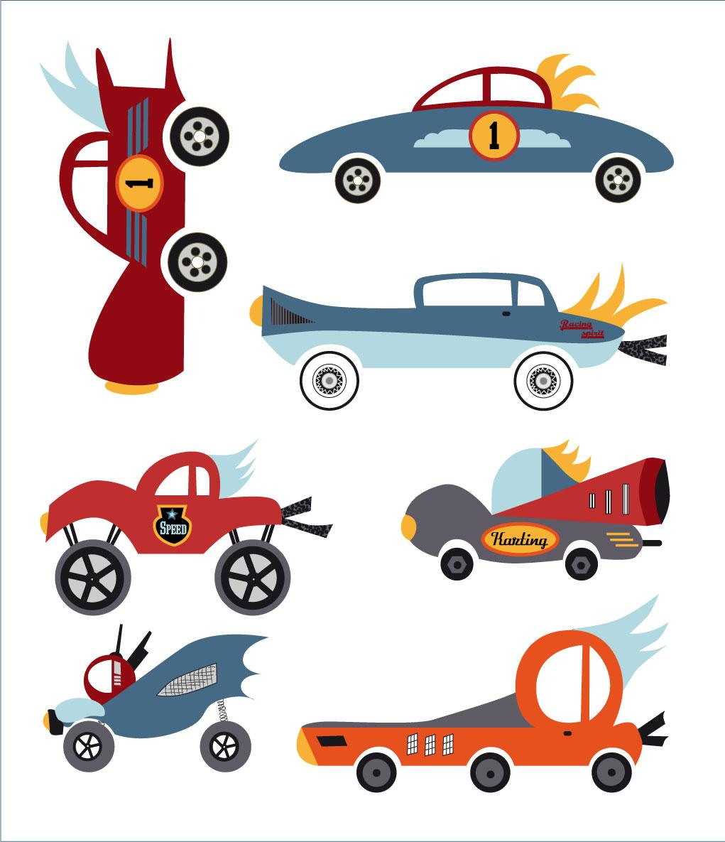 Collection voitures pour décoration de chambre de garçon